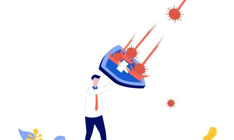 rysunek przedstawia mężczyznę z tarczą, który chroni się przed wirusem
