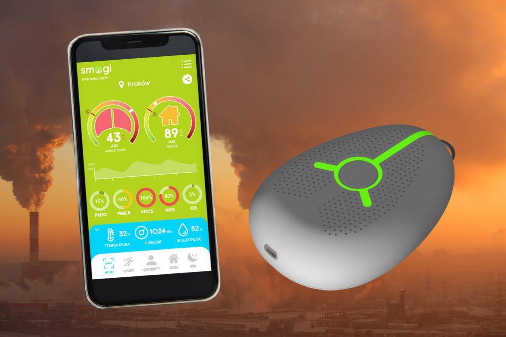 aplikacja smogi wyświetlana na smartfonie