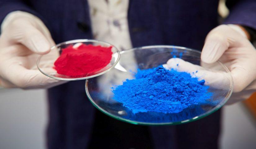 Ręce trzymają dwa szklane spodeczki z czerwonym i niebieskim barwnikiem spożywczym