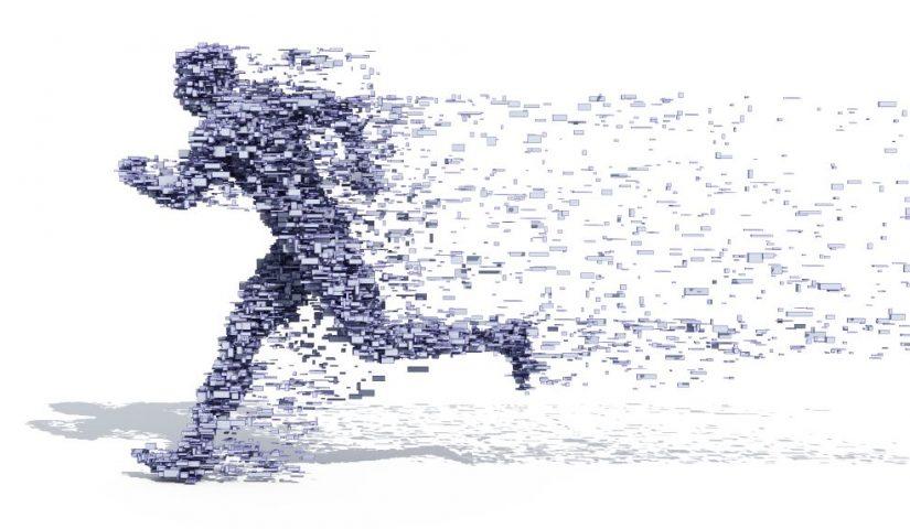 Grafika przedstawiająca biegnącego człowieka